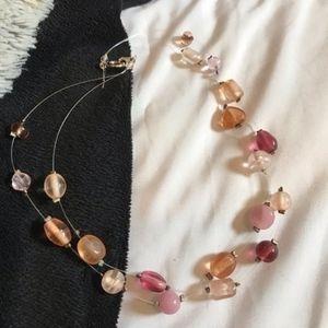 Jewelry - 3/$30!! Pink and apricot bead and wire necklace